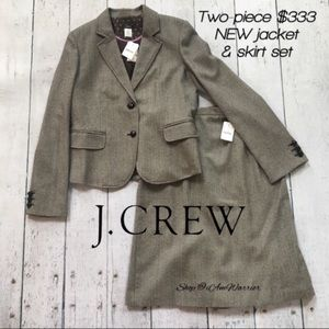 J. Crew NWT brown herringbone tweed 2 pc suit